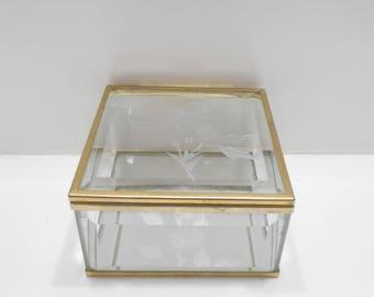 Vintage Mirrored, Hinged Brass & Tinted Light Green Glass Trinket Box (8) Taiwan