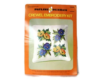 1970's Pansies and Poppies Crewel Needlepoint Pillow Kit by Pauline Denham - Embroidered Linen Pillow with Bright Floral Motif