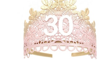 Birthday Sage lace TIARA ||  blush + rose gold || 21st 30th 40th 50th || adult cake smash tiara || Love Crush Exclusive || Ready to Ship