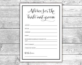 DIGITAL FILE - Advice for the Bride and Groom - Bridal Shower - Black and White, Printable, Activities, Bachelorette, BW1001, BW1003
