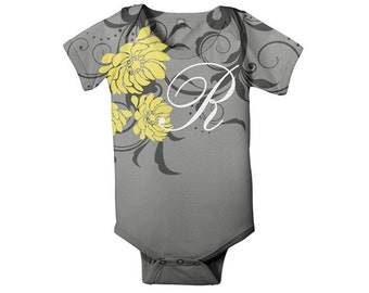 Baby Girl Bodysuit, Personalized Yellow Dahlias Floral Snapsuit with Monogram
