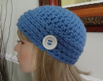 Sky Turquoise Blue Crochet Skull Cap Flapper Hat with White Button