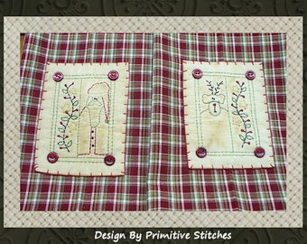Prim Christmas Hand Towel Collection-Primitive Stitchery Pattern-E-PATTERN-INSTANT DOWNLOAD