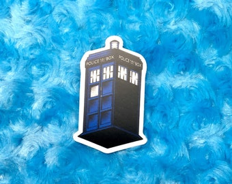 "Doctor Who TARDIS Blue Box 3"" vinyl sticker"