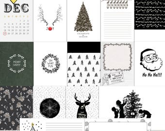 Black & White Christmas - Journal Cards -Instant Download Printable journaling cards for Project Life and digital scrapbooking