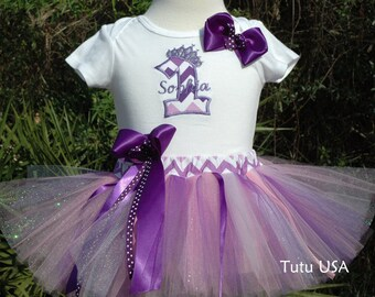 1st Birthday Girl Outfit, First Birthday Outfit, Purple 1st Birthday Girl Outfit, Personalized With Your Baby's name, Inlcudes Bow