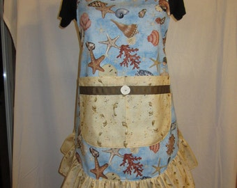 Footprints in the Sand with Seashells Ruffled Apron