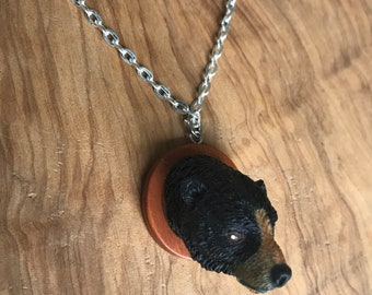 Bear Pendant Necklace Upcycled Reclaimed Material