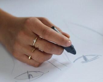 STONE bar ring  - Simple silver ring - Minimal ring - stacking ring  - dainty ring - Minimal jewelry