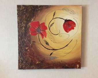 Abstract painting red poppies