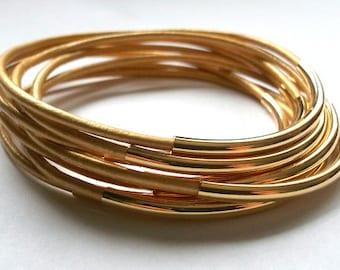 Leather Bracelets - Set of 9 Leather Bangles - Gold Bangle - Gold Bracelet - Boho Bracelet - Boho Leather Bracelet, Boho Stackable Bracelets