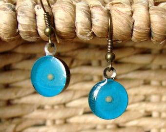 Teal Blue Mustard Seed Earrings - Antique Brass Mustard Seed Earrings - Mustard Seed Jewelry - Bright Blue Earrings - Christian Jewelry