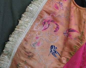 Vintage redesigned upcycled embroidery vest: a peach garden