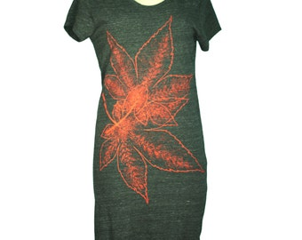 Eco Black Japanese Momiji, Maple Leaves T-Shirt Dress, Screen Printed By Hand, Eco-Friendly, Women - Gifts for Her - Last One