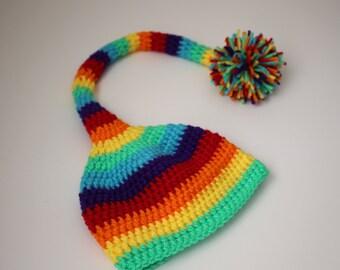 Rainbow Baby Elf Hat
