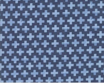 Hazelwood Evening Dark Blue Crosses 36015 16 by One Canoe Two for Moda