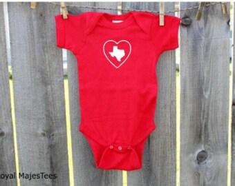 Heart Texas Baby Bodysuit, Texas Valentine
