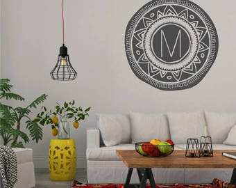 Boho Mandala Wall Decal Monogram - Vinyl Wall Art Custom Home Decor