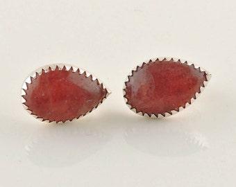 Sterling Silver And Pink Aventurine Teardrop Earrings