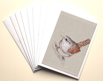 Wren Cards, Pack of 10 with White envelopes