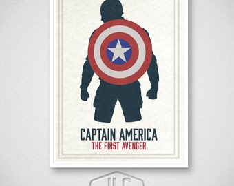Captain America Art Print, Marvel Comics, Movie Poster