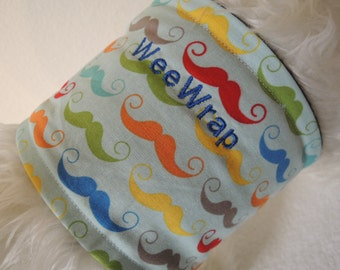 Dog Diaper Belly Band,  Mustache Fabric, Stop Marking, Personalized, Fast Shipping
