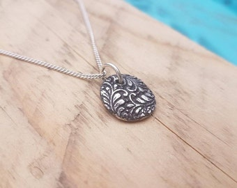 Handmade fine silver leaf pendant, silver pendant, artisan pendant