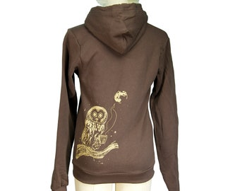 Brown Coffee Owl Screen Printed Zip Hoodie, Autumn, Winter, Unisex, Men, Women, Bird, Gifts for Him or Her, Last One, Made in USA