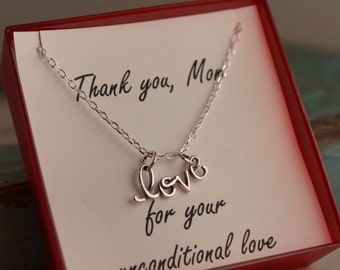 Daughter mother necklace - Gift for Mom - Sterling Silver or Gold Filled - Thank you for you unconditional Love