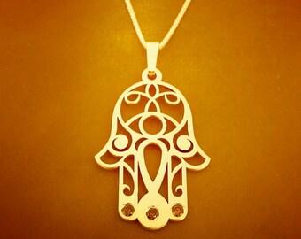GOLD Hamsa necklace / Chamsa pendant / evil eye hamsa necklace / silver ruby chamsa / 14k Gold Bohemian / Good luck Hand of God pendant