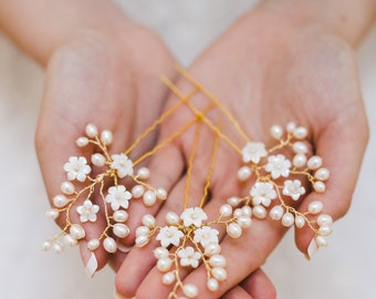 wedding hair pins, pearl hair pins, bridal hair pins, flower hair pins, gold hair pins, floral hair pins - CLAUDETTE (set of 3)