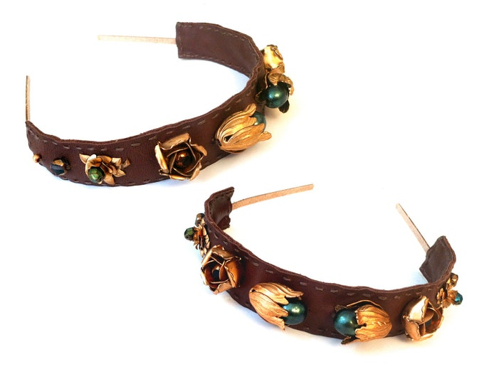 Featured listing image: GILDED-MANE HEADBAND : Brown Leather w/ Vintage Brass Floral Beads