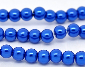 6mm Bright Blue Glass Pearl Imitation Round Beads - 32 inch strand
