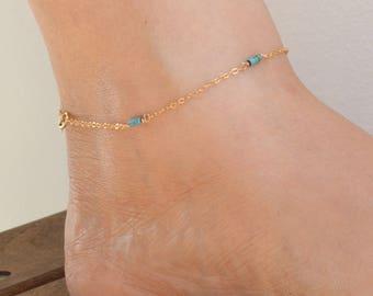 Anklet,Turquoise anklet,Dainty anklet,gold anklet,summer,turquoise bracelet,gift for her,beach summer,14k gold filled
