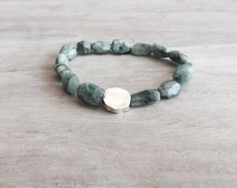 Unique Emerald Bracelet With a Sterling Silver Bead, emerald stone, men's bracelet, men's emerald bracelet