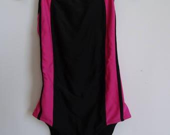 Vintage  Black Pink One Piece Swimsuit Vintage Bathing Suit Retro Speedo