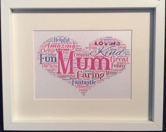 Personalised Heart Word Art Picture