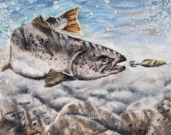 "Salmon, 14"" x 14"" open edition giclee print of salmon going after bait, in the river. Fish artwork of salmon"