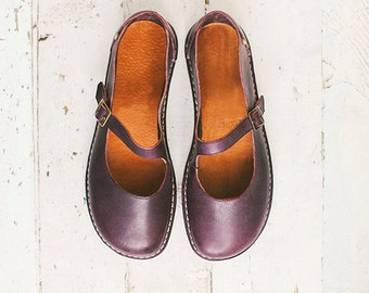Mary Jane Shoes, Women Shoes, Aubergine Mary Janes, Flats Shoes, Handmade Shoes, Casual Leather Shoes, Women Leather Shoes