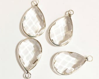 4 glass faceted teardrop pendant with silver frame, Clear glass drops 22x14mm, framed glass teardrops