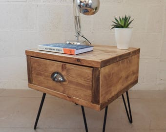 Bedside Table/Nightstand Side Table Handmade Industrial Urban Reclaimed Metal Hairpin Legs Mid Century Modern Retro