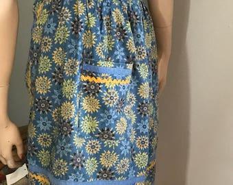Vintage Cotton Half Apron Blue Yellow Gold Print Apron