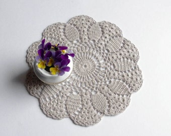 Lace doily Grey crochet doily Small round doily Small crochet doilies Pineapple crochet flower doilies Small lace doilies 195