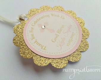 Baptism favor tags christening thank you tags first communion favor tas gold and pink favor tag golden glitter and pink tag thank you tag
