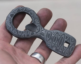 Hand Forged Staggered Ladder  Damascus Bottle Opener
