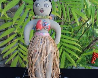 "Vintage HAWAIIAN HULA  Cloth DOLL with Grass Skirt 16"""