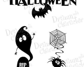 Halloween Images Silhouettes, Ghost, Spider, Happy Halloween Digital Stamp/ KopyKake Image- F15-HALLOSIL1
