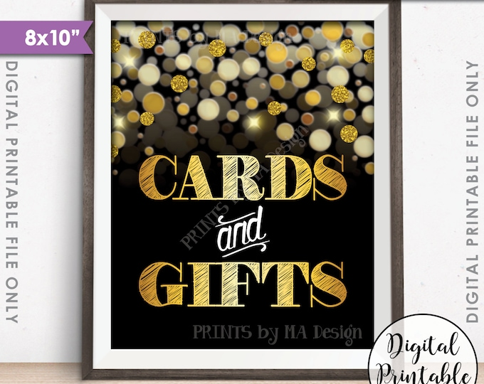 "Cards and Gifts Sign, Cards & Gifts, Birthday, Anniversary, Retirement, Graduation, Black and Gold Glitter Instant Download 8x10"" Printable"