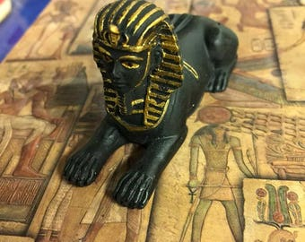Amazing Unique Small Hand Painted Egyptian Sphinx Statue