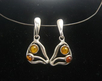 Genuine Baltic Amber Gemstone Sterling Silver Earrings